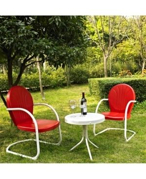 ONE CHAIR Griffith 3 Piece Metal Outdoor Conversation Seating Set   Two Chairs in Red Finish with Side Table in White Finish  Retail 202 49