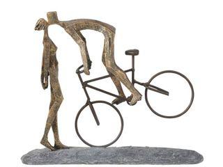 Polyresin Kissing Couple On Bike Figurine  Bronze and Gray  Retail 107 49