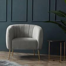 Silver Orchid Burbridge Velvet Channel Accent Chair  Retail 368 99