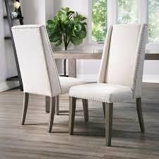 Set of 2 Abbyson lillian Neutral Acacia Polyester Dining Chair  Retail 297 49