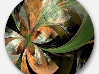 Designart  Orange and Green Fractal Flower  Modern Floral Circle Wall Art  Retail 163 49