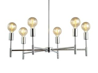 Turing 28 5  Adjustable Height Metal lED Pendant  Chrome by JONATHAN Y  Retail 125 13