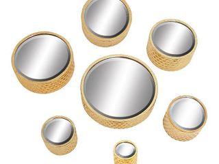 Strick   Bolton Buri Round Gold Wall Mirrors  Set of 7  Retail 153 49