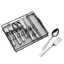 Mikasa Barletta Gourmet Basics 42 piece 18 0 Stainless Steel Hammered Finish Flatware Set with Caddy