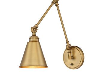 Strick   Bolton Bley 1 light Warm Brass Metal Adjustable Sconce with Plug   Retail 114 99