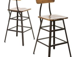 Rugar 28 inch Acacia Wood Bar Stool  Set of 2  by Christopher Knight Home  Retail 157 49