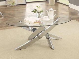 MISSING GlASS Furniture of America Dess Modern Chrome Metal Oval Coffee Table  Retail 321 99