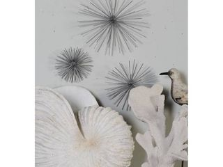 Contemporary Style 3D Round Silver Metal Starburst Wall Decor Sculptures Set of 3   6  9  11