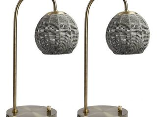 Oleander Table lamp with Woven Rope Shade and USB Port   Set of 2