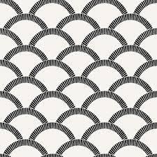 3 rolls Tempaper Mosaic Scallop Vinyl Peelable Wallpaper  Covers 28 sq  ft  Black   Cream
