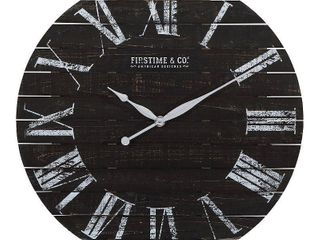 FirsTime   Co  Midnight Farmhouse Planks Wall Clock  American Crafted  Distressed Black  Fir Wood  29 x 2 x 29 in  Retail 118 99