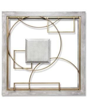 Provincial Abstract 24 inch large Square Grey Gold Wall Decor Modern