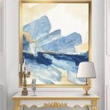 Designart  Metallic Gold Indigo II  Modern Glam Premium Framed Art Print  Retail 142 49