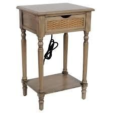 Elian Woven Drawer Front Side Table with USB and Outlet  Retail 91 49