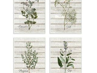 Stupell Industries Herbs Kitchen Dining Room Wood Textured Word Design 4pc Wall Plaque Art Set by Kimberly Allen  Retail 94 49