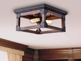 larissa Black Wood Industrial Square 2 light Flush mount Fixture  Retail 124 99