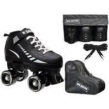 Juniors size 10 Epic Galaxy Elite Black Quad Roller Skate 4 Pc  Bundle with Safety Pads   Bag