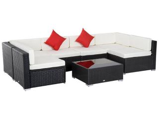Incomplete Outsunny 7 piece Outdoor Patio Rattan Wicker Furniture Set   Retail 756 49