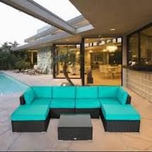 INCOMPlETE Kinbor All weather Rattan Cushioned Sectional Sofa Patio Furniture Set Blue  Retail 783 49
