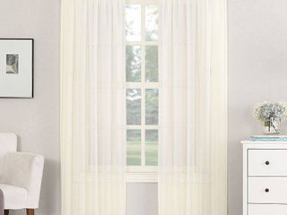 4 63 x59  Emily Sheer Voile Rod Pocket Curtain Panel Off White   No  918