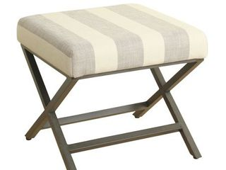Alderson Upholstered Grey and Cream Striped Ottoman with Bronze Metal Finish   Retail 75 98