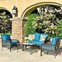 Ovios 4 PCs Patio Furniture Sets Water Resistant Wicker Deep Seating Outdoor Sofa Conversation Set Table  Retail 608 49
