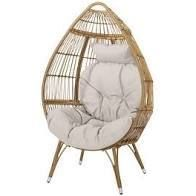 Serina Outdoor Wicker Teardrop Chair with Cushion by Christopher Knight Home  Retail 379 99