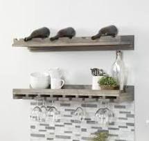 Del Hutson 36  wood wall Mounting Wine glass shelf