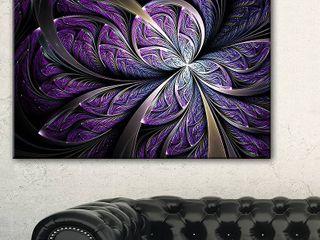 Glittering Purple Fractal Flower   large Floral Canvas Art Print