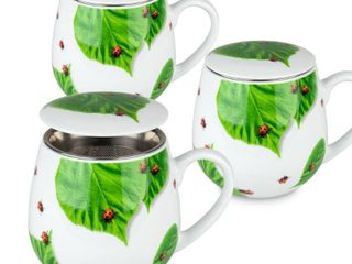 Konitz Set of 3 Tea For One Flow Mugs with Seive and lid