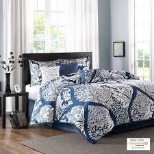 Madison Park Marcella Indigo Cotton Printed 7 Piece Comforter Set   Retail 122 98