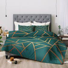 Deny Designs Teal Geometric 3 Piece Comforter Set  Retail 204 49