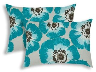 POP OF POPPIES Aqua Indoor Outdoor Pillow   Sewn Closure  Set of 2