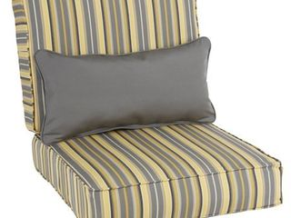 Oakley Sunbrella Striped Indoor  Outdoor Corded Chair Cushion Set and lumbar Pillow  Retail 116 37