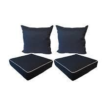 Suntastic Indoor  Outdoor Navy Textured Seat Cushions  Set of 4  Retail 78 48