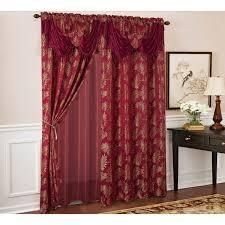 Gracewood Hollow Mabanckou Textured Jacquard Single Rod Pocket Curtain Panels w  Attached Valance  54 x 84