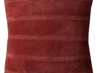 Rizzy Home Pintuck Stripes Rust Cotton 22 inch Square Throw Pillows