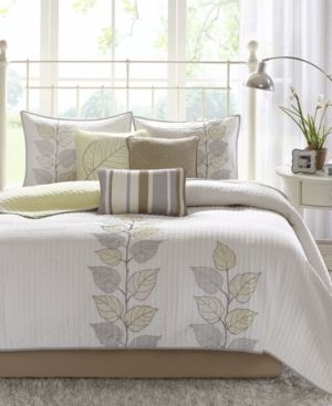 Madison Park Jocelyn Yellow Channel Quilted Coverlet Set  Retail 99 98