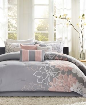 Madison Park Brianna Grey  Blush Cotton Sateen Printed Comforter Set  Retail 103 49