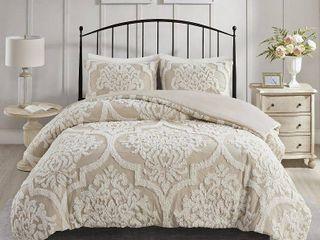 Madison Park Aeriela Tufted Cotton Chenille Damask Duvet Cover Set  Retail 119 98