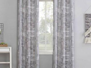 84 x40  Tatsu Modern Grid Semi Sheer Grommet Curtain Panel Gray   No 918 Set of 2