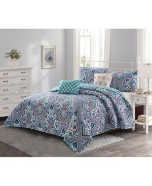 Harper lane Merriam 5 Piece Quilt Set  Coral King Bedding