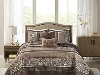Madison Park Dartmouth Red 5 piece Jacquard Bedspread Set  Retail 103 49