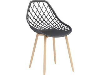 Set of 2  Kurv Dining Chair Black Natural   Jamesdar