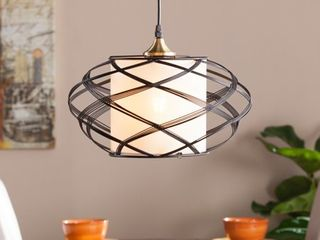 9in Anwyn Wire Cage Pendant lamp   Black   Aiden lane