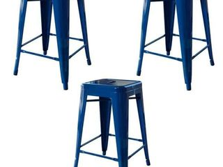 AmeriHome loft Blue 24 in  Metal Bar Stool   3 Piece