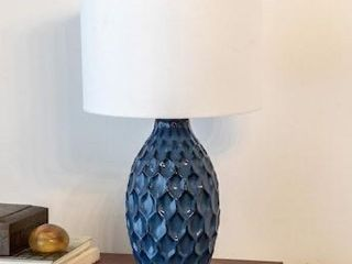 Decor Therapy 24 5 in Dark Blue 3 Way Table lamp with linen Shade