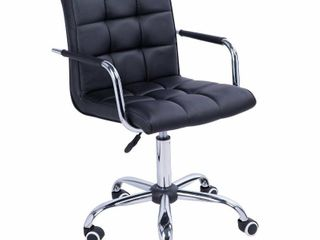 HomCom Modern Tufted PU leather Midback Home Office Chair with lumbar Support   Black