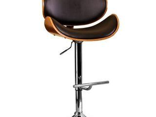 Modern Swivel Walnut Bentwood Adjustable Height Bar Stool   Black