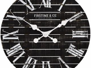 FirsTime   Co  Shiplap Farmhouse Wall Clock Charcoal